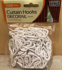 200 WHITE CURTAIN HOOKS DECORAIL CURTAINS PLASTIC NYLON GLIDERS TAPE CLIPS RING