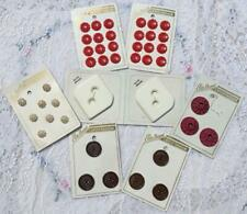 VTG LOT 43 ELITE BRAND PLASTIC BUTTONS ON ORIGINAL CARDS FLOWERS CHUNKY RED PINK