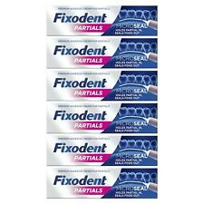 6 x Fixodent Partials 0% Premium Denture Adhesive Microseal - Strong Hold - 40g