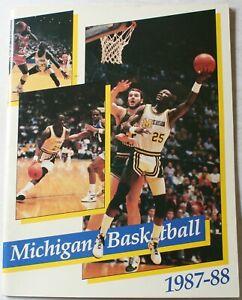 1987-88 University Michigan Wolverines College Basketball Media Guide Rice Grant