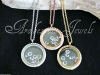 LIVING MEMORY NECKLACE/LOCKET/MI MILANO FLOATING CRYSTAL/ROSE GOLD/SILVER/GOLD..