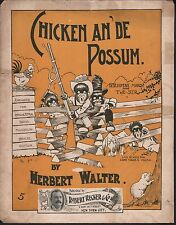 Chicken and De Possum 1899 Large Format Sheet Music