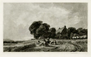 The Harvesters, original mezzotint by Sir Frank Short, pencil signed
