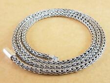 """Bali Tulang Naga Foxtail Franco Wheat 925 Sterling Silver Necklace 3.2mm 20"""" 29g"""