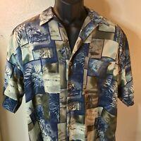 Bocca Classics Island Wear Floral Hawaiian Shirt Size Medium Blue & Tan