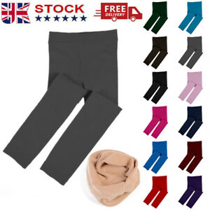 Kids Girl Thick Leggings Winter Warm Thermal Lined Slim Pants Casual Trousers✅