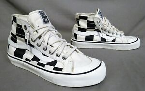VANS BLACK & WHITE CHECKERBOARD HI TOP SKATEBOARD SHOE SIZE MENS 7 WMNS 8.5