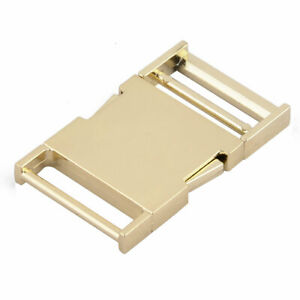 "Belt Strap Bag Metal Flat Side Quick Release Buckle 1.3"" Inside Width Gold Tone"