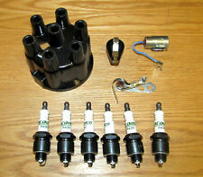 1955-1962 CHEVY 235 6 CYL TUNE UP KIT Points Condenser Cap Rotor Spark Plugs