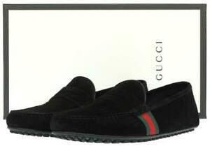 NEW GUCCI LUXURY BLACK SUEDE WEB MOCCASINS DRIVER LOAFERS SHOES 8 G/US 8.5