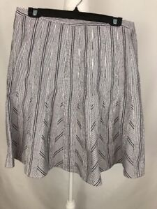 TALBOTS Flare Skirt Size 12P White Gray Stripe Cotton Fully Lined Side Zip