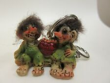 New LOMMEDALEN TROLL Resin keyring  Troll couple Peace and Love