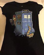 Dr Who Futurama Mashup Tardis Bender Juniors Small T-Shirt Navy Top Tee Fury EUC