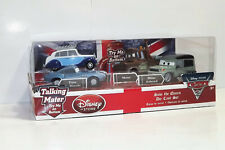 DISNEY PIXAR CARS SAVE THE QUEEN 4 PACK FINN MCMISSILE MILES AXLEROD TOW MATER