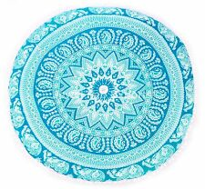 Indian Large Mandala Decorative Meditation Cushion Cover Ethnic Cyan Pillow Case