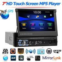 """1DIN 7"""" Autoradio Bluetooth MP5 Reproductor USB/TF/AUX/RDS/AM/FM Radio Retráctil"""