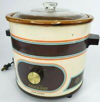Vtg Rival 3.5 qt Crock-Pot Slow Cooker Stoneware, 3100/2, Retro Brown *TESTED*
