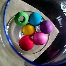 5 x Colour Round Wooden Beads 25mm Large hole - Pet Rabbit Parrot Bird Toy Parts