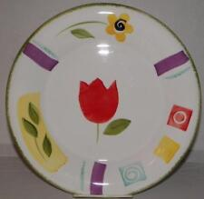 2 Dinner Plates Ceramica Hand Decorated Ceramic Art Deco Flowers Made in Italy