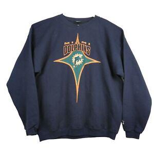 Vtg 90s Starter NFL Football Miami Dolphins Blue Pullover Sweater Men's Sz XL