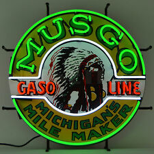 neon sign Musgo Indian Gasoline Gas motor oil pump globe lamp wall Neonetics