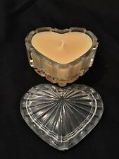 """Vintage Lidded Glass Heart Candle 2"""" T x 3 1/2"""" W - See Pics"""