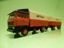 LION CAR 58 + 64 DAF 2800 TRUCK + TRAILER - ORANGE 1:50 - EXCELLENT CONDITION