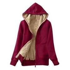 Women Winter Fleece Furry Zip Coats Hooded Hoodie Jacket Casual Warmer Outwear