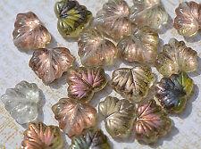 (10) Czech Glass 13x11mm Maple Leaf Beads -  Forest Fairy AB - CRJ900028