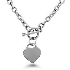 "Stainless Steel Heart Charm Tag Toggle Necklace 18"" FREE ENGRAVING"