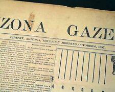 Rare 19th Century PHOENIX AZ Maricopa County ARIZONA Territory 1887 Newspaper