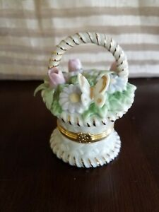 Lenox Treasures Basket of Blossoms Hinged Trinket Box and Charm
