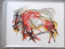 Lithographie originale signé Roger LERSY Ecole de Paris Bestiaire Envoi Cervidé