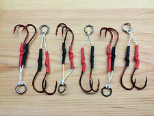 6 x 7/0 Red Octopus Double Assist Hooks.Hand Made in the UK.