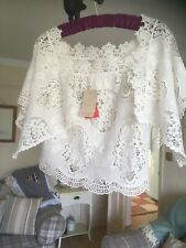 🌺MONSOON IVORY LACEY BRODERIE ANGLAISE BARDOT TOP BLOUSE SMALL UK 8/10 NEW🌺