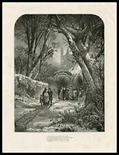 NEW YEAR CHURCH SERVICE by Thomas Moran 1874 antique engraved print