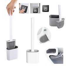 More details for cleanfast-soft silicone toilet brush, wall mounted holder set, deep-cleaning...