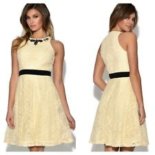 Little Mistress Simply Fab Size 18 Cream Lace Evening Occasion Party DRESS £79