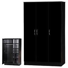 Alpha Gloss Bedroom Furniture Bedside Chest Wardrobe Sets Mirrored Sliding 3 Door Wardrobe Black
