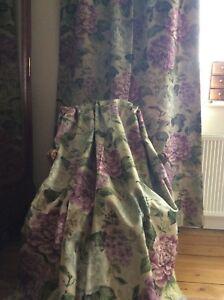 "Art of the Loom ""Summer Bay  "" fabric LINEN blend curtains HUGE"