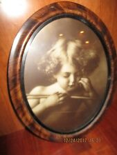 Vintage Photo  Cherub Oval Picture 10 x 13 black and white