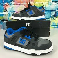 New DC Stag Skate Shoes Blue Gray White Youth Size 4 Skateboarding Sneakers Cool