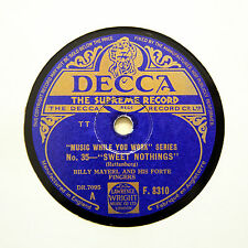 """BILLY MAYERL & HIS FORTE FINGERS (Piano) """"Sweet Nothings"""" DECCA F-8310 [78 RPM]"""