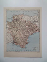 DEVONSHIRE  MAP  DATED 1898  FROM ENC. BRITANNICA  7in x 9in  VGC