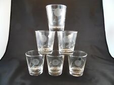 Sasaki Glass Co Mid Century Cut Etched Rose Set of 6 - 6 oz Old Fashion NEW