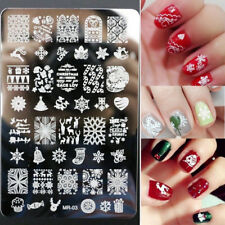 Merry Christmas Nail Art Stamping Plates Template Stencil Stamper Manicure Tools