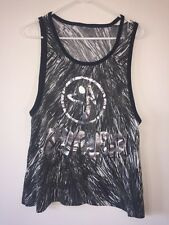 Preowned Women's Zumba Black/White/Gray Loose Fitting Tank, Size Large?