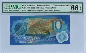 "New Zealand 10$ P190b 2000 PMG66EPQ RED s/n NZ00001610 ""Commemorative"" Polymer"