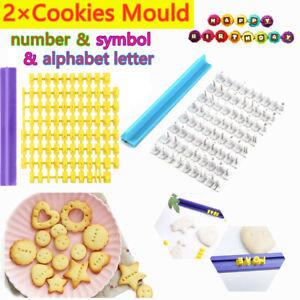 2×Alphabet Letter Number Symbol Stamp Fondant Cookie Cake Cutter Mold Embosser
