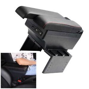 Universal Car Telescopic Panel Dual Layer Storage 7 USB Port Central Armrest Box